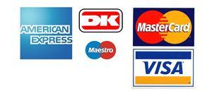 Vi tager imod de fleste betalingskort.