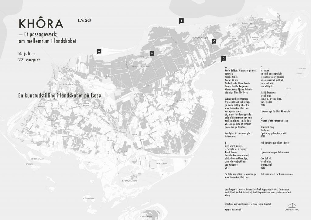 Kort over Khôra-udstillingens værker skabt til landskabet på Læsø.