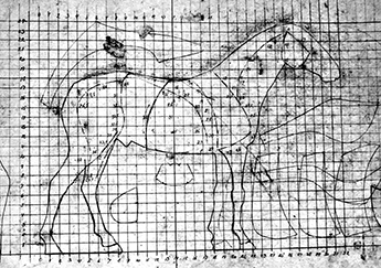 Tegning for hestefigur II. Drawing for horse sculpture II.